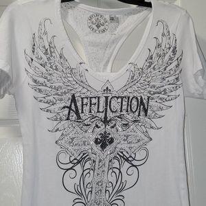 Affliction White T-Shirt Sz Medium